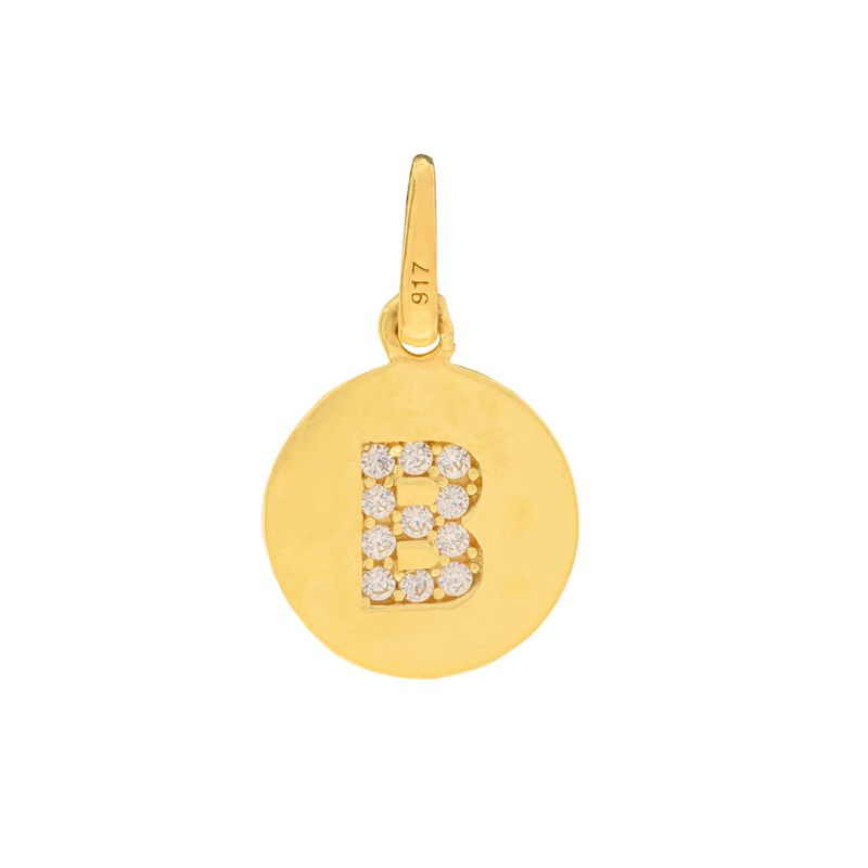 22k Gold  Initial B Round Pendant
