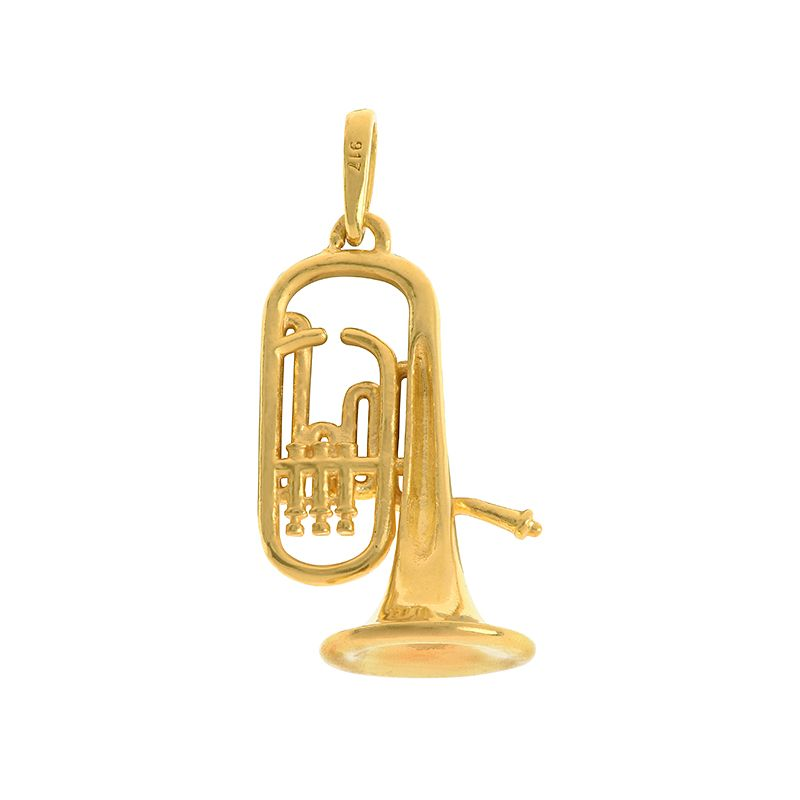 22k Gold Trumpet Charm Pendant