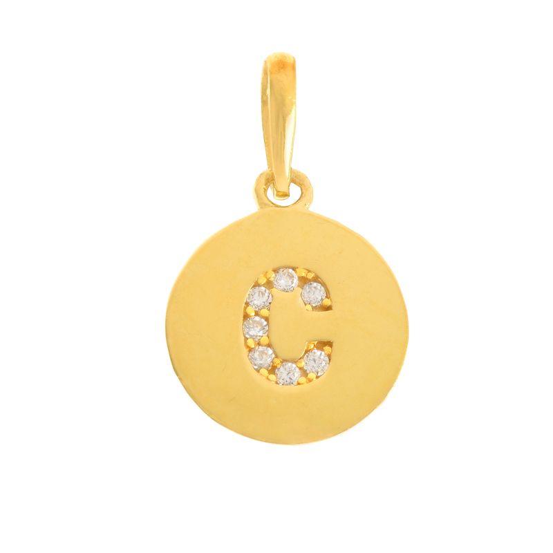 22k Gold  Initial C Round Pendant