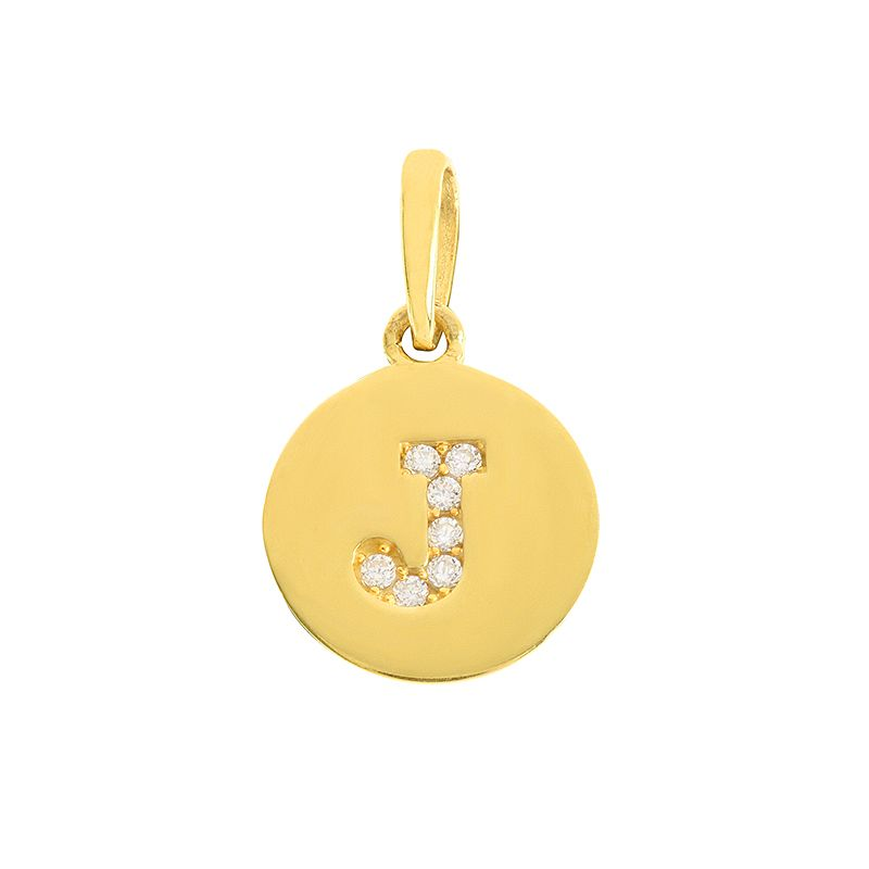 22k Gold  Initial J Round Pendant