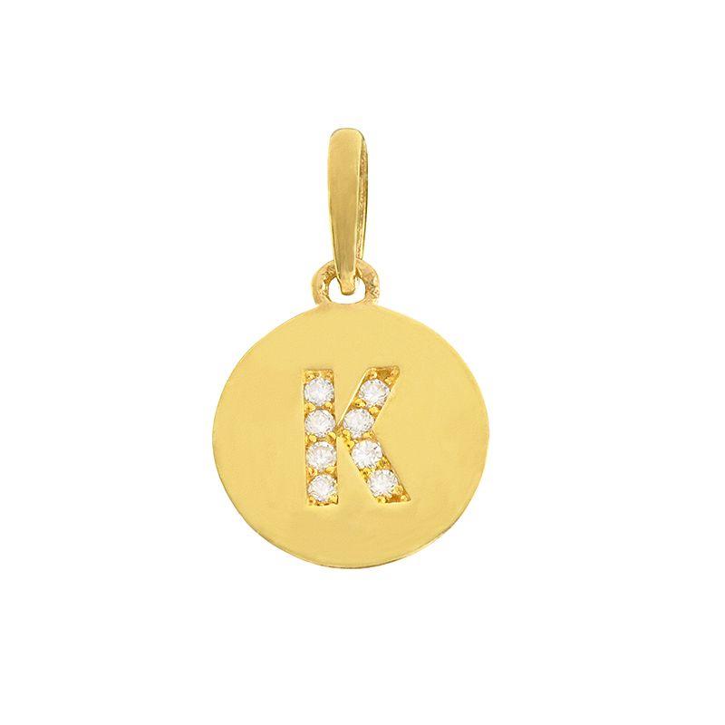 22k Gold  Initial K Round Pendant