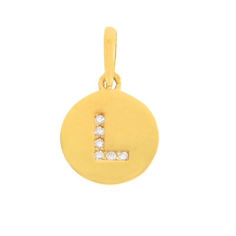 22k Gold  Initial L Round Pendant