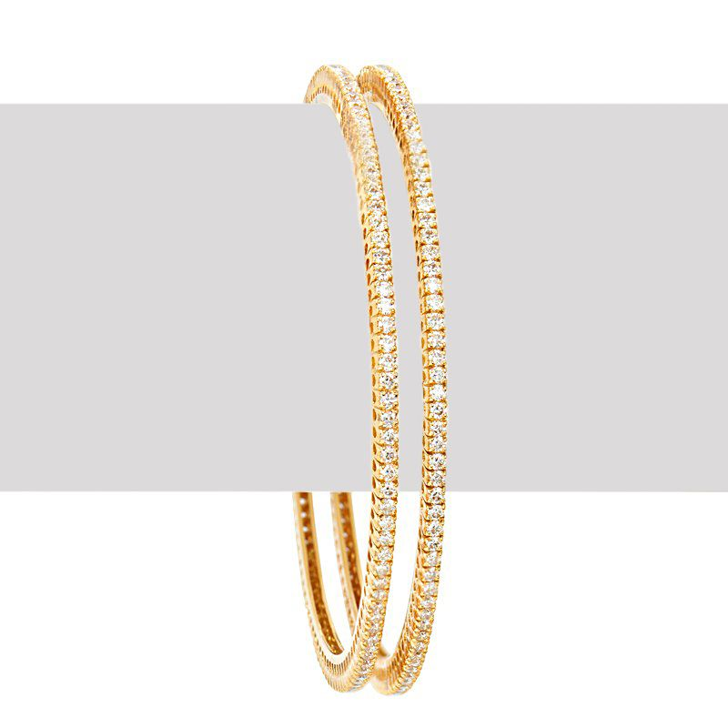 18k Diamond Yellow Gold Solitaire Bangles