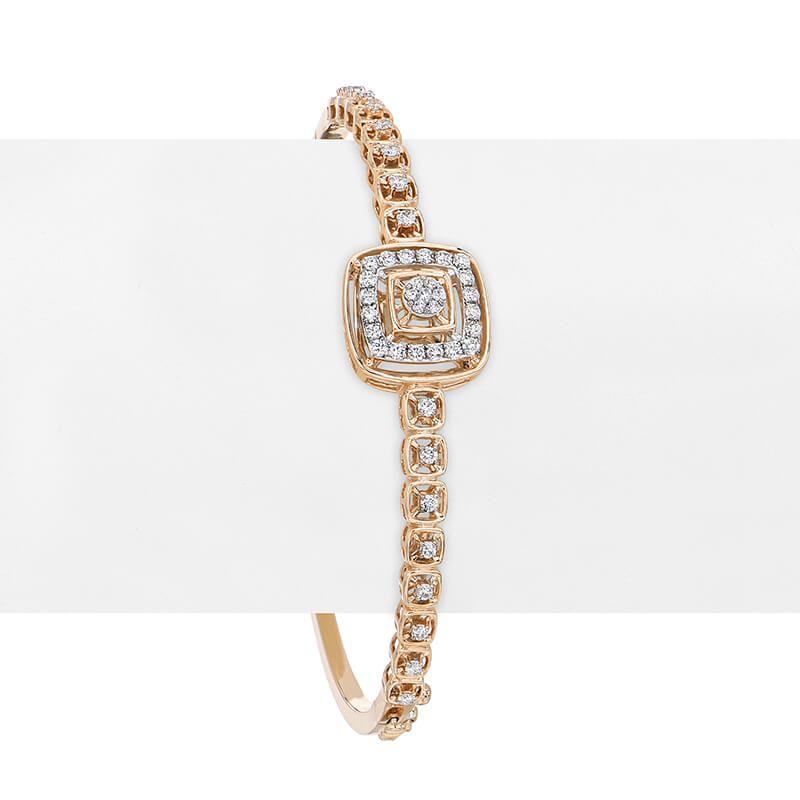 18k Diamond Roseatte Diamond Bangle Bracelet