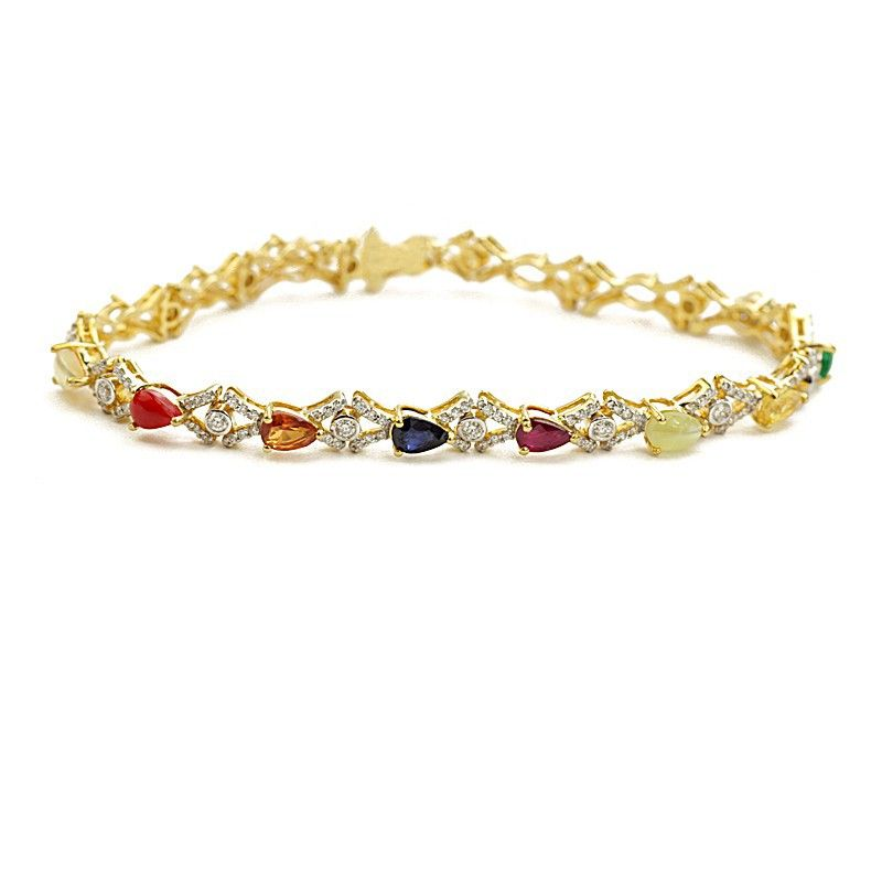 18k Diamond Navratna Links Bracelet