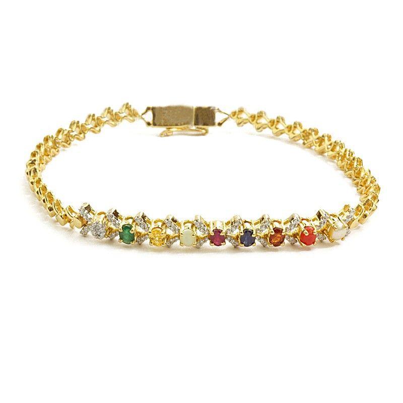 18k Diamond Gemstone Tennis Bracelet