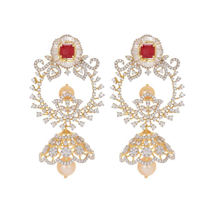 18k Diamond  Diamond Bali Jhumkas
