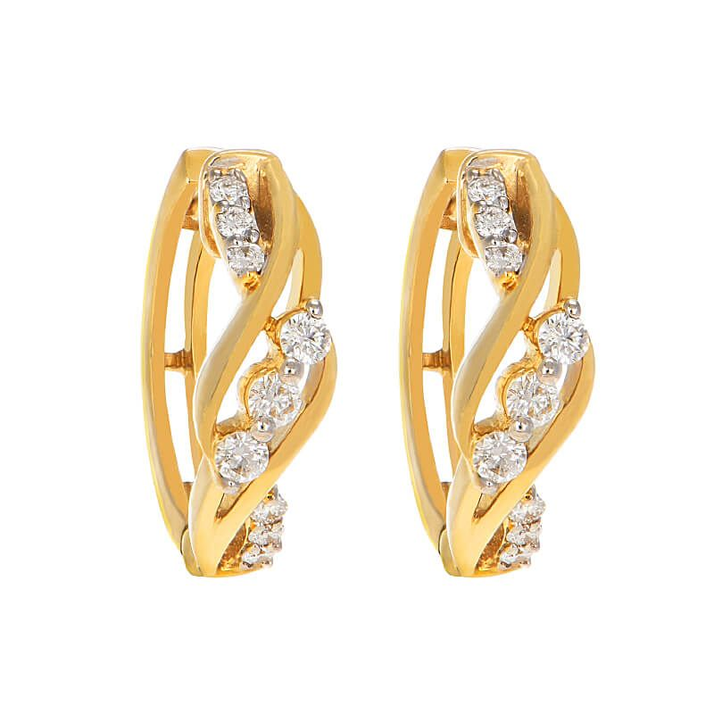 18k Diamond Twist Diamond Huggies
