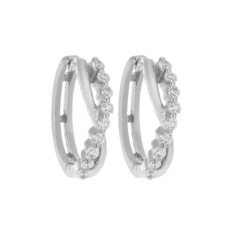 18k Diamond Criss Cross Diamond Huggies