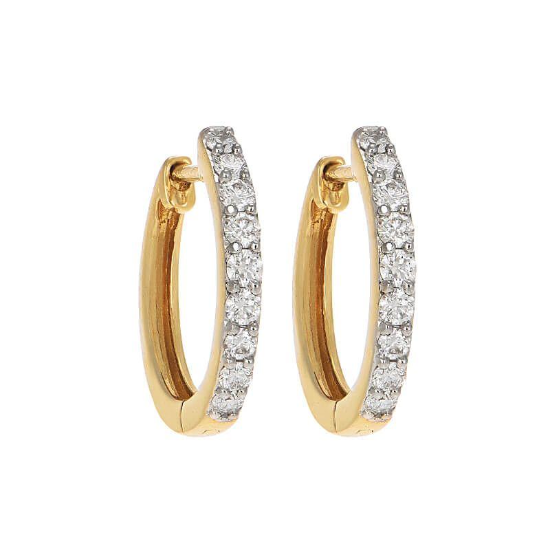 18k Diamond Glistening Diamond Oval Huggies