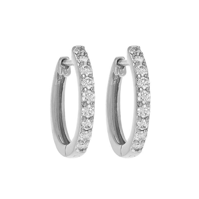 18k Diamond Glistening White Diamond Huggies