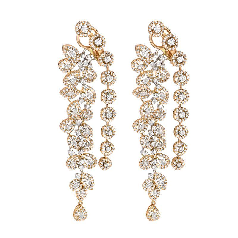 18k Diamond Long Diamond Drop Earrings