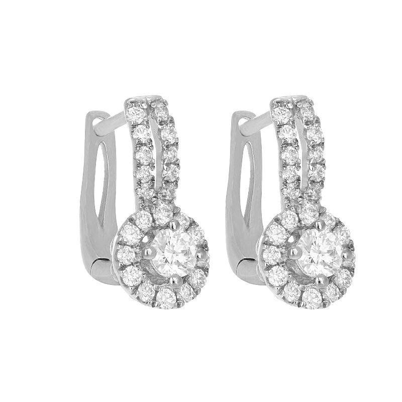 18k Diamond Diamond Halo Huggies