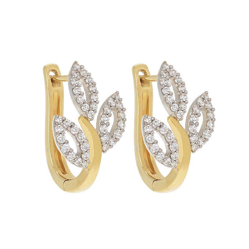 18k Diamond Leafette Diamond Huggies