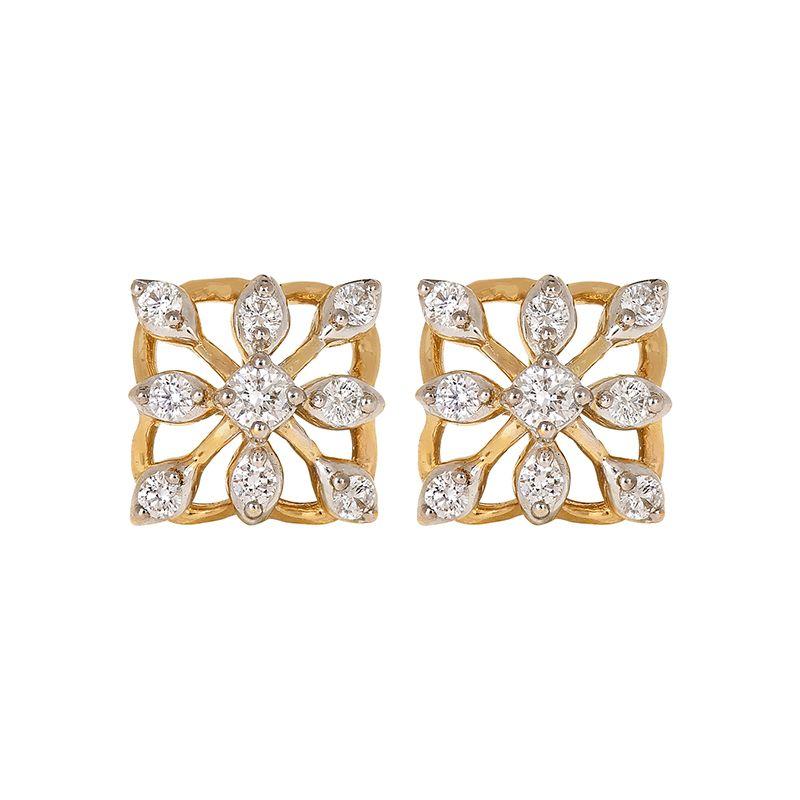 18k Diamond Dainty Square Diamond Studs