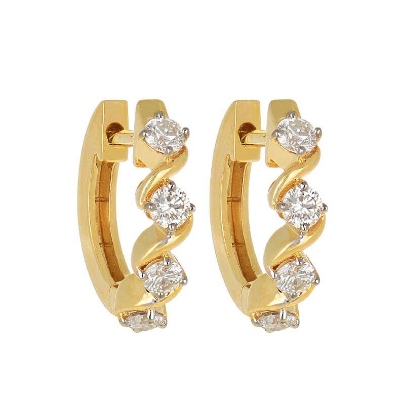 18k Diamond Petite Wavy Diamond Huggies