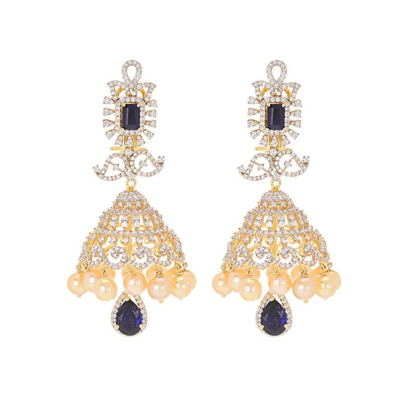 18k Diamond Interchangeable Gems Diamond Jhumkas