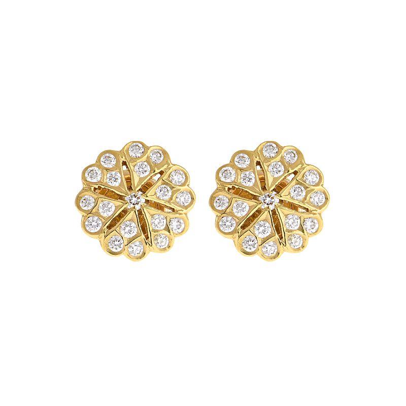 22k Diamond Golden Snowflake Diamond Studs