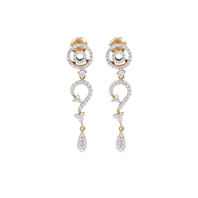 18k Diamond Swirl Drop Earrings