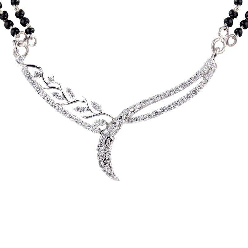 18k Diamond Floral Waves Diamond Mangalsutra