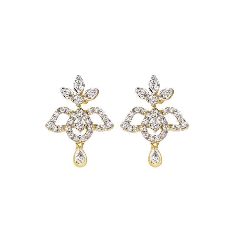 18k Diamond Floral Diamond Drop Studs