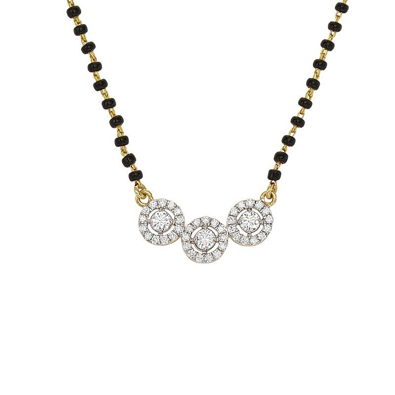 18k Diamond 3-Halo Diamond Mangalsutra