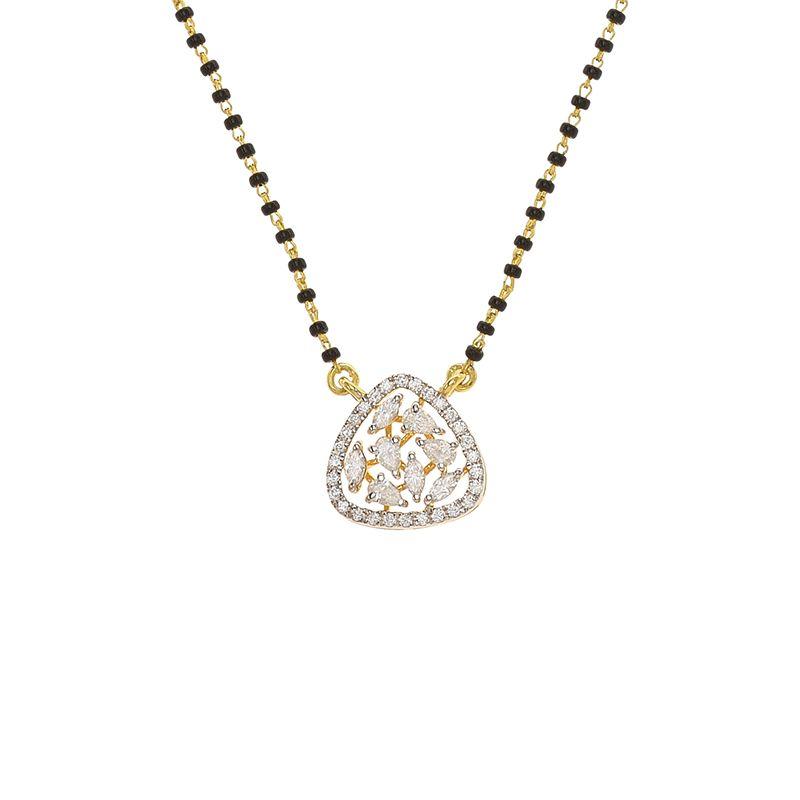 18k Diamond Trendy Cluster Diamond Mangalsutra