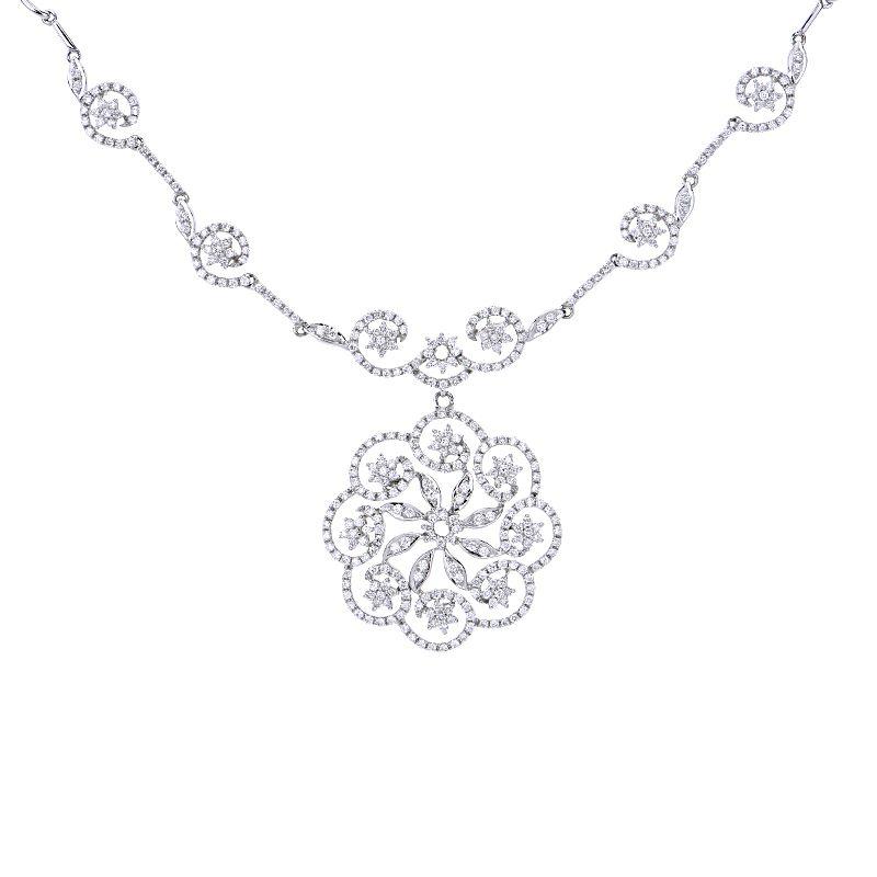 18k Diamond Floral Swirl Necklace