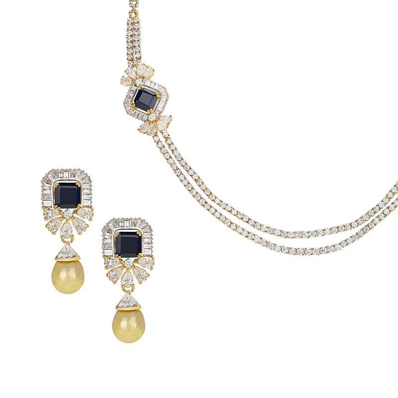 18k Diamond Dual Layers Diamond Necklace