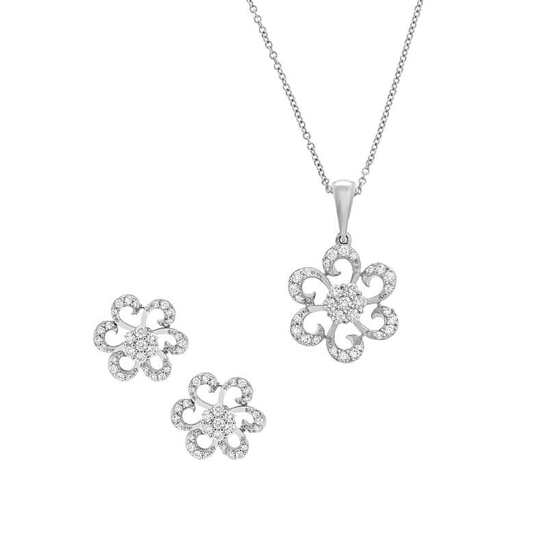 18k Diamond Floral Diamond Pendant Set