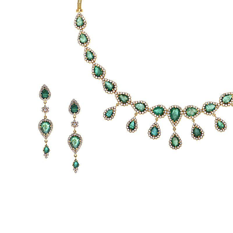 18k Diamond Emerald Droplets Necklace Set