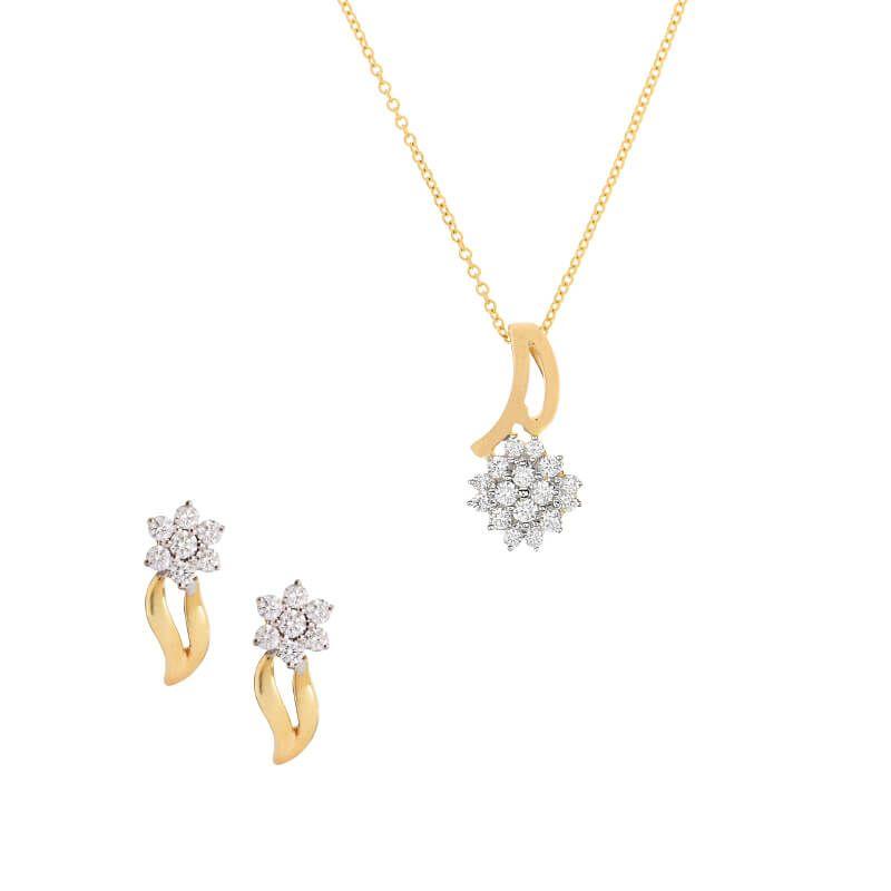 18k Diamond Floral Bud Pendant Set