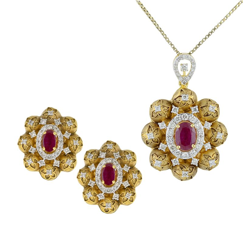 18k Diamond Aza Diamond Pendant Set