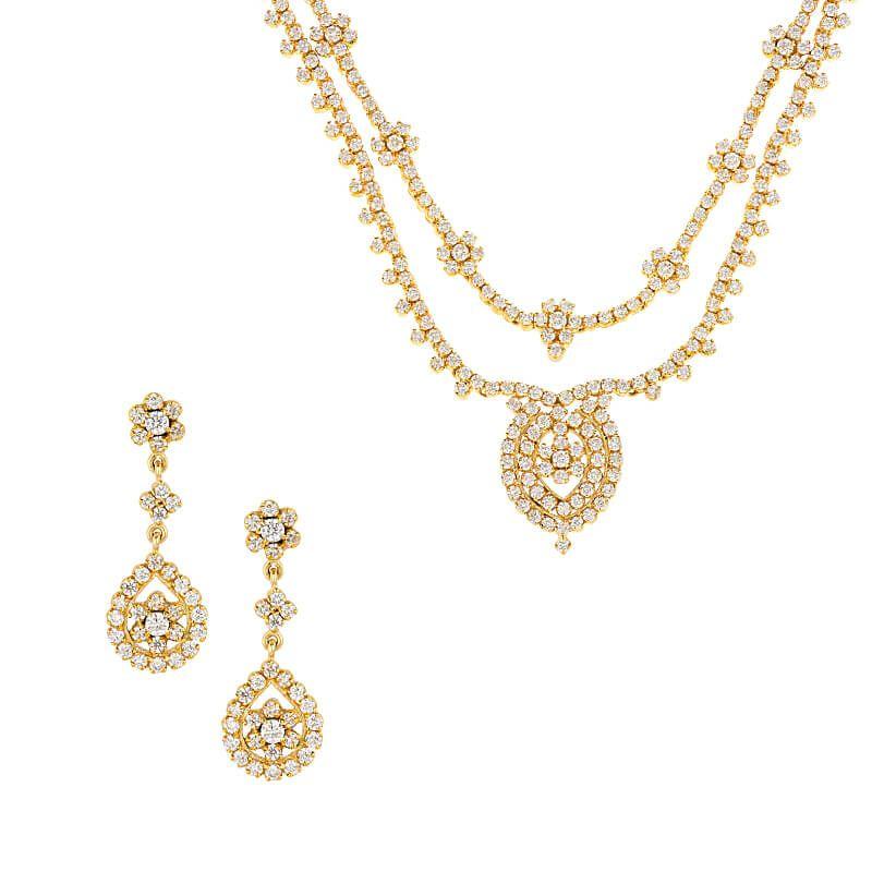 18k Diamond Duo Layers Diamond Necklace