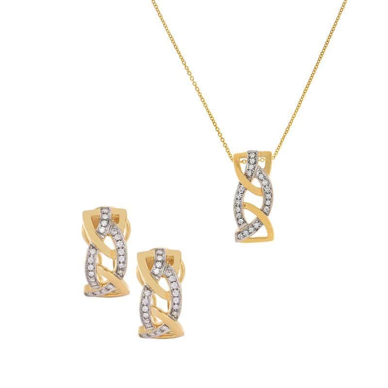 18k Diamond Intertwine Diamond Pendant Set
