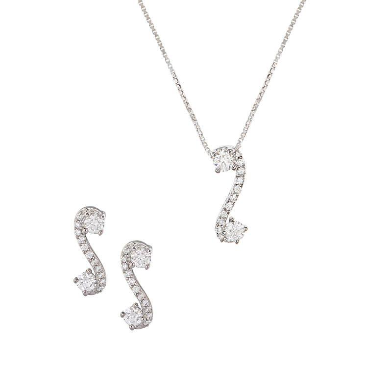 18k Diamond Curvasia Diamond Pendant Set
