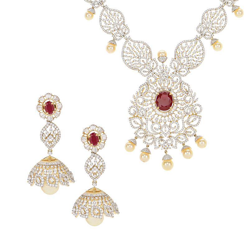 18k Diamond Aurore Diamond Gems Necklace