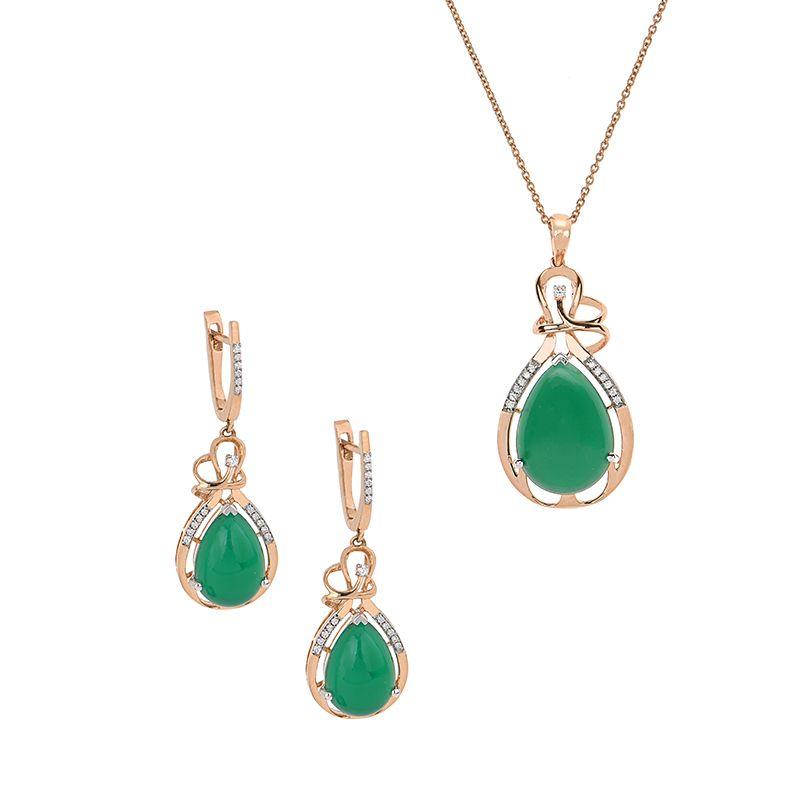 18k Diamond Emerald Diamond Pendant Set