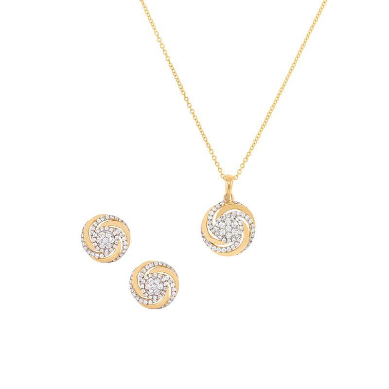 18k Diamond Swirl Diamond Pendant Set
