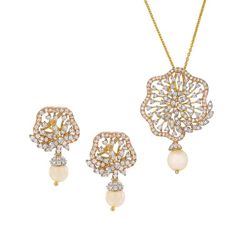 18k Diamond Floris Diamond Pendant Necklace