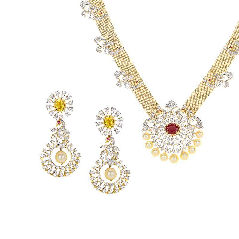 18k Diamond Diamond Peacock Gems Necklace
