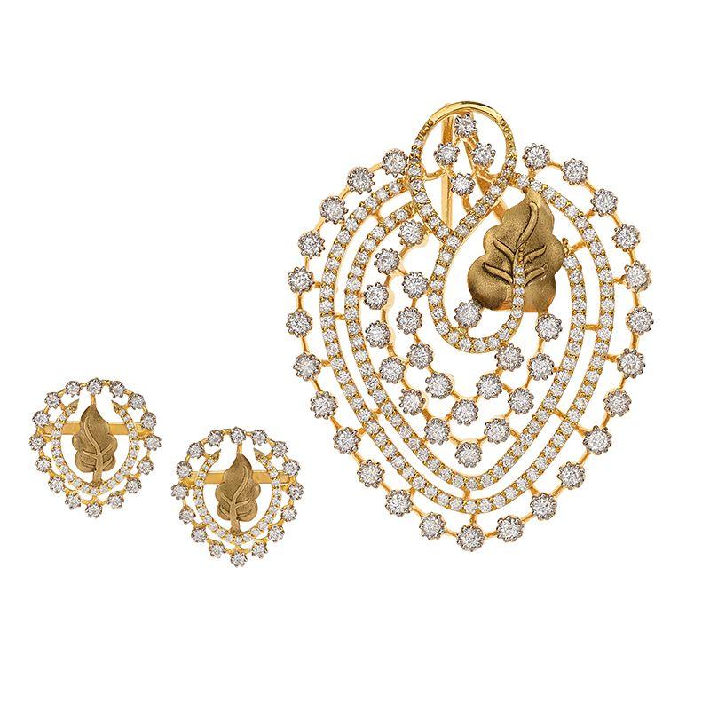 18k Diamond Iklizia Diamond Pendant Set
