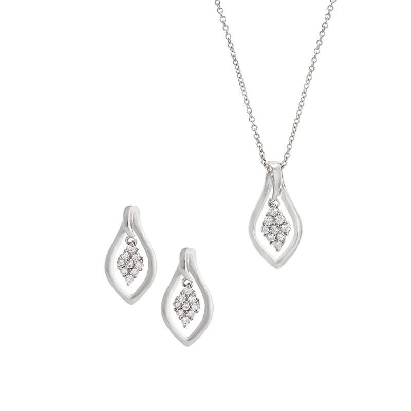 18k Diamond Dainty Diamond Pendant Set