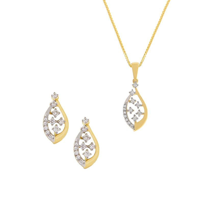 18k Diamond Oval Diamond Pendant Set
