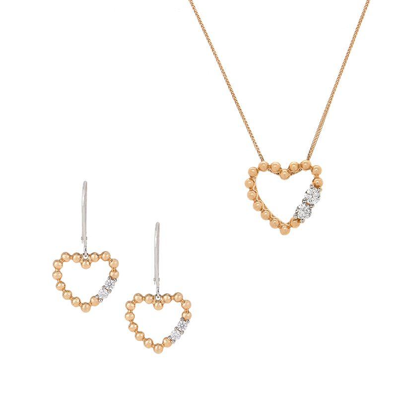 18k Diamond Diamond Heart Pendant Set