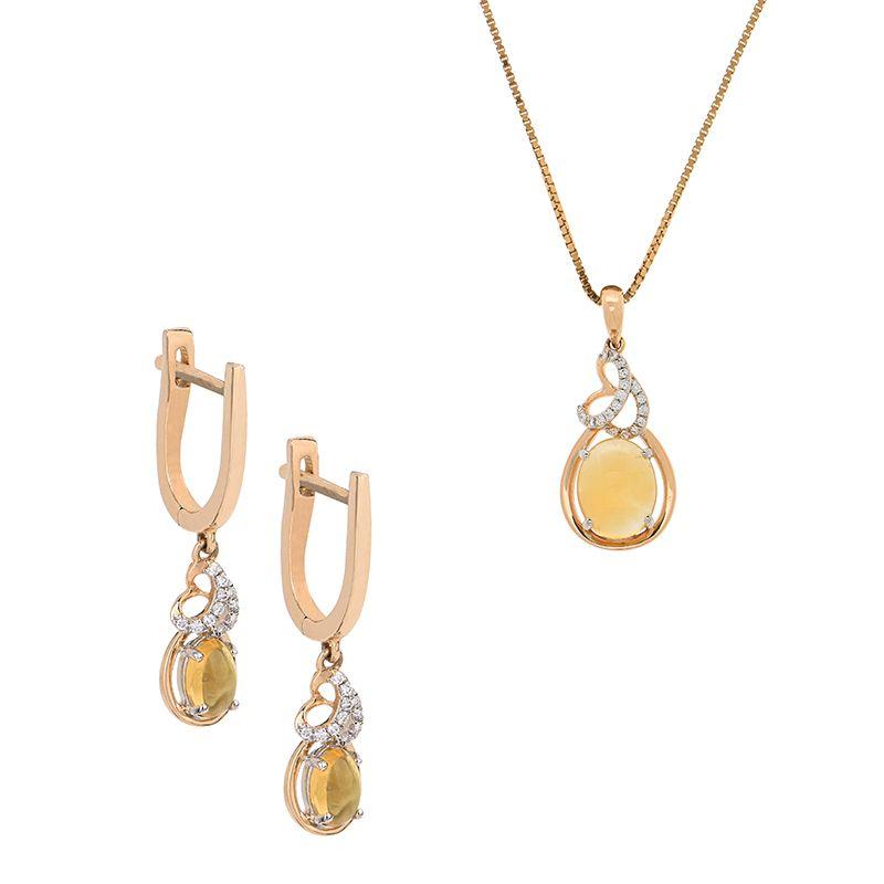 18k Diamond Citrine Diamond Pendant Set