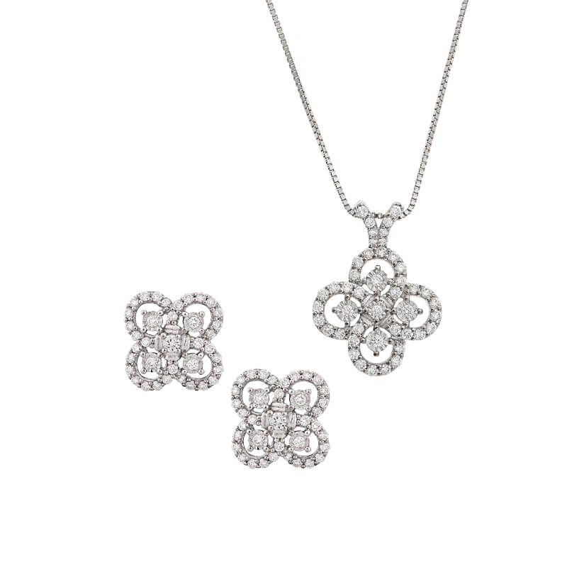 18k Diamond Diamond Clover Pendant Set