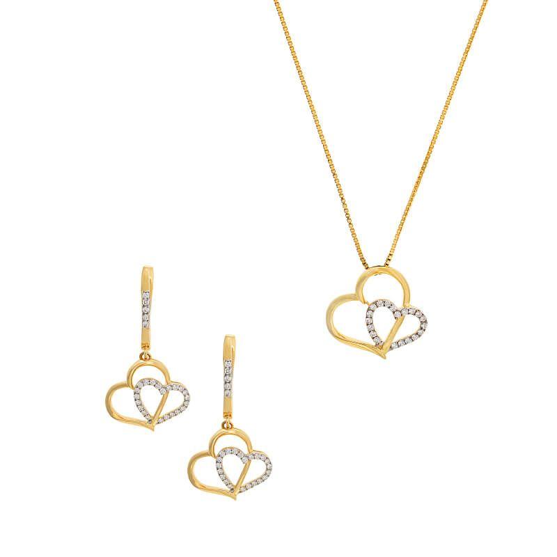 18k Diamond Hearts Diamond Pendant Set
