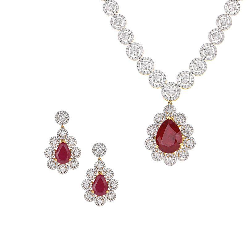 18k Diamond Diamond Drop Gems Necklace