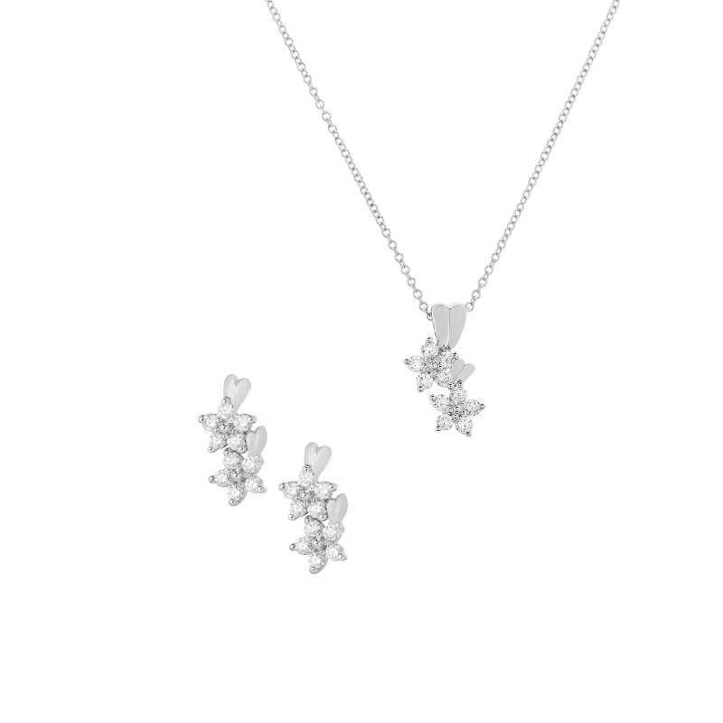 18k Diamond Armel Diamond Pendant Set